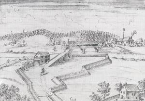Die Reussbrücke anfangs des 18. Jahrhunderts. Das «Wirtshaus zur Kanne» liegt links der Brücke. Erst 1721 wurde auf der nördlichen Seite, also rechts der Brücke, das heutige «Zollhaus» eröffnet. Ebenfalls zu sehen sind die Schanzungen, die Befestigungen der Auffahrt zur Reussbrücke.