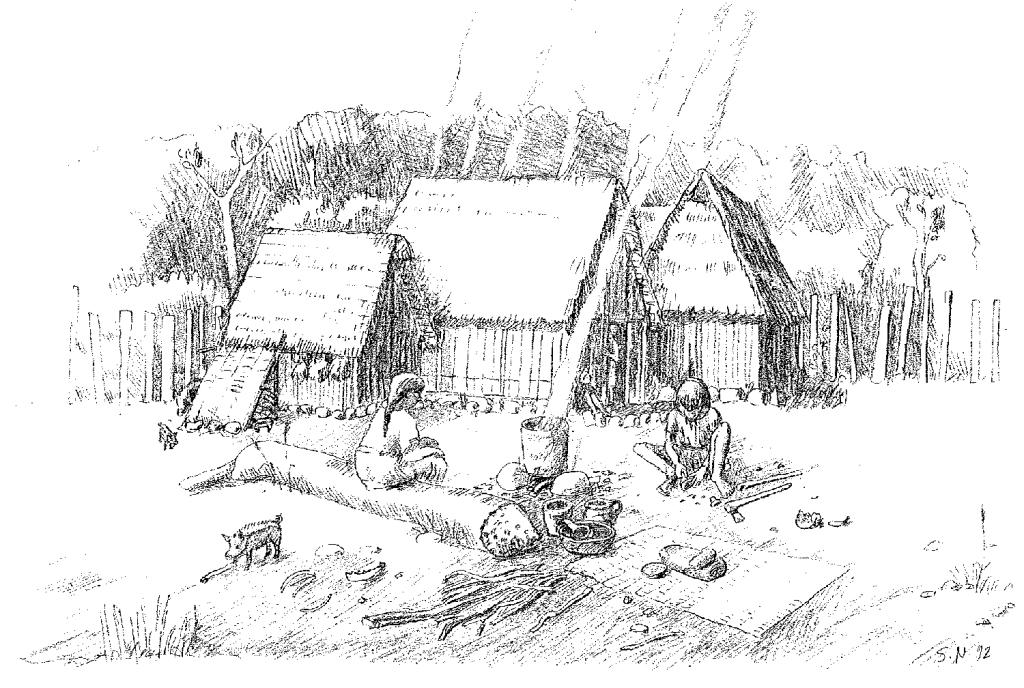 Das Leben in einem Pfahlbauerdorf am Zugersee.  Zeichnung: Amt für Denkmalpflege und Archäologie
