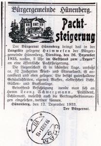 Inserat zur Ausschreibung der Pacht von 1933.
